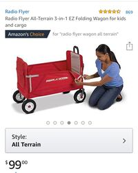 Brand new in the box All terrain Wagon. Great for summer fun. Folds so it fits in your car or puts away easy when not needed   Pelham, 10803