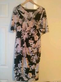 white and black floral scoop neck dress Inwood, 25428