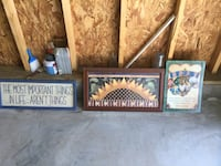6 pictures and 1 tin sign all for one price...3 are home interior brand Chesterfield, 23832