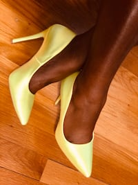 pair of green leather platform stilettos Arlington, 22203