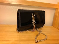 black and gray leather crossbody bag 2390 mi