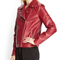 Red Moto Faux Leather Jacket San Diego