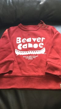 toddler's red and white beaver canoe printed sweater
