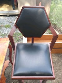brown wooden framed black leather padded chair Latrobe, 15650