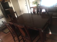 rectangular brown wooden table with six chairs dining set 2275 mi