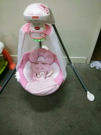 baby's pink and white cradle n swing 3248 mi
