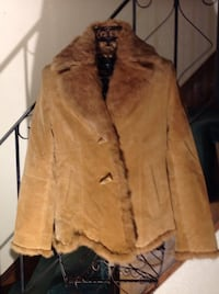 Sooo soft fur and suede coat light brown med size 10 Nashua, 03060