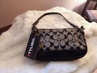 monogrammed brown and black Coach leather bag Westminster, 21158
