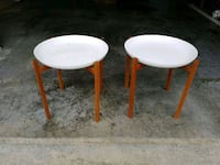 two round white wooden stools Surrey, V3S 8A1