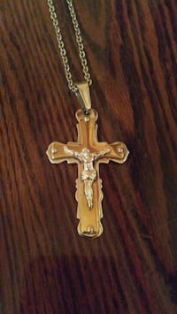 Gold-Colored and Silver Cross Necklace Irving, 75060