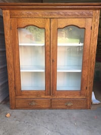 Brown wooden 2-door display cabinet Roxbury