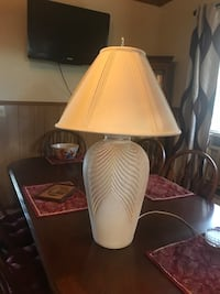 Cermatic lamp 32 inches tall with shade has hues of blue and burgundy paintable if you don't like the color Statesville, 28625