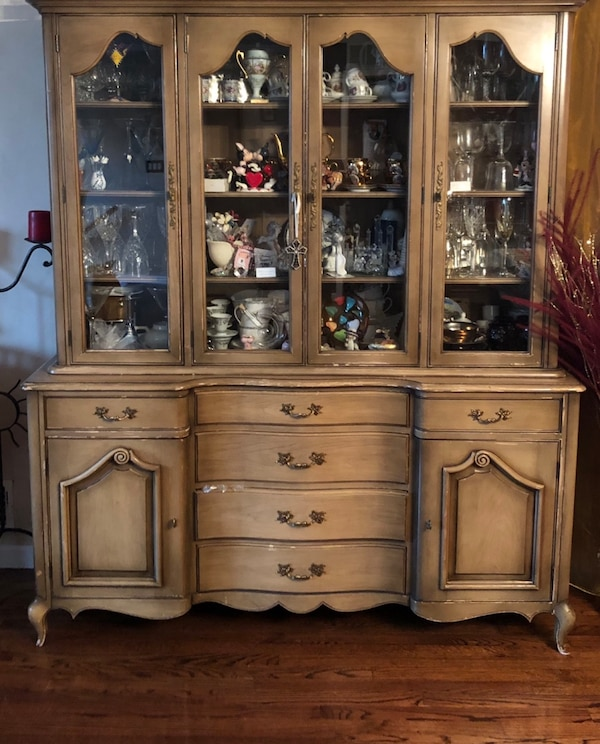 Used Dining Room Table With Center Leaf And Custom Chairs Breakfront For Sale