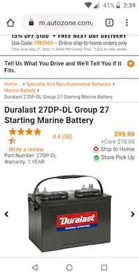 New Durlast Marine RV Battery