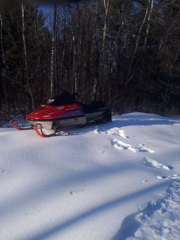 red, grey, and black snowmobile
