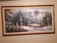green and white pine trees and snow covered mountain painting