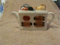 white brown and black ceramic teapot