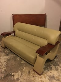 Brown wooden framed white leather padded sofa Worcester, 01609