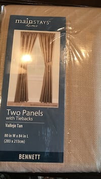 2 packages, 4 panels with tie backs. Never opened. Still in original packages Mainstays Two panels with Tie Packs Bennet pack