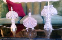 Vintage Crystal Candy Dish and 2 Crystal Lamps 46 km
