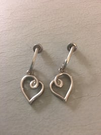 pair of silver-colored earrings with heart pendant Peterborough, K9H 3X1