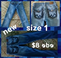 size 1 blue denim jeans collage Junction City, 66441