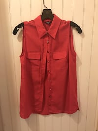 red button-up collared sleeveless top