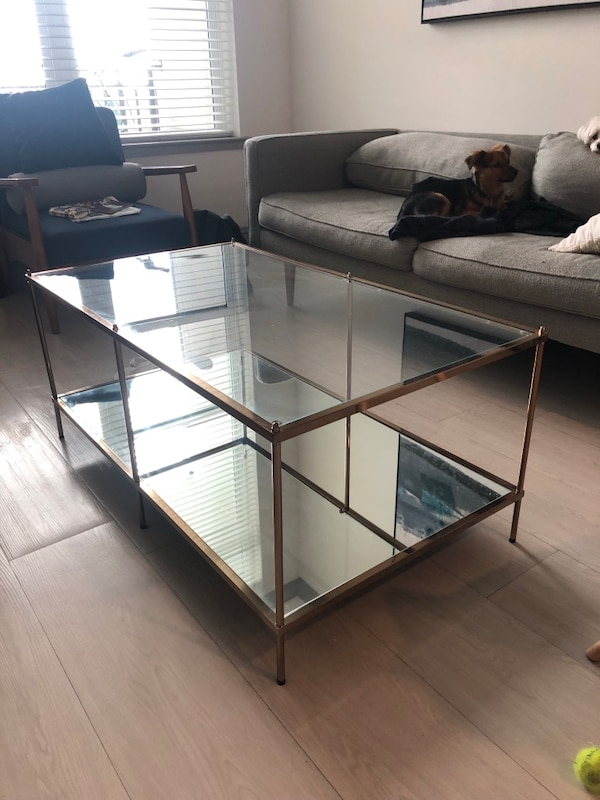 Used Rectangular Glass Top Gold Coffee Table For Sale In Atlanta Letgo