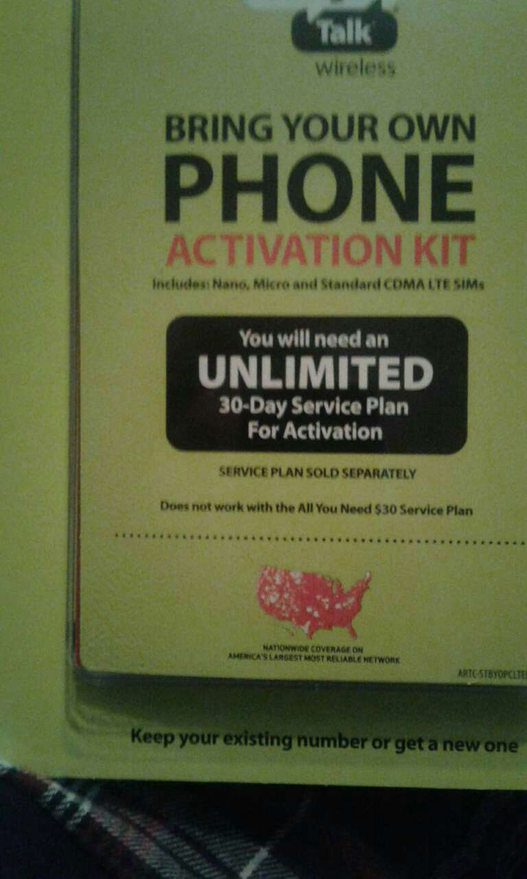Bring your own Phone Activation kit box