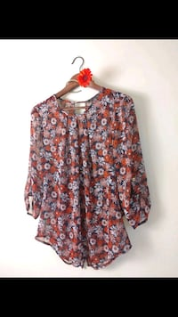 women's brown and red floral blouse 3738 km