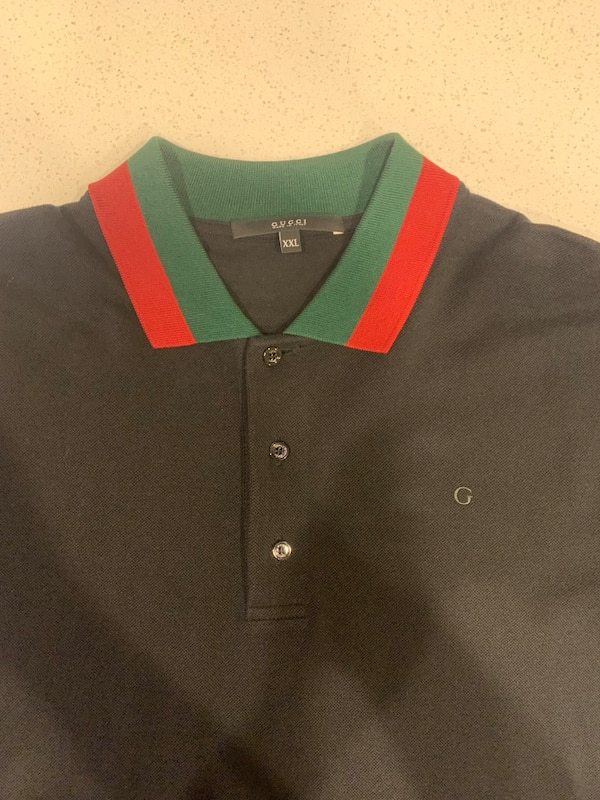 293f19dde6bc Used Gucci Black Polo Shirt w Red   Green Striped collar for sale in ...