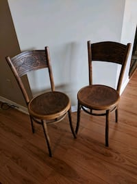 three brown wooden framed padded chairs Toronto, M9A