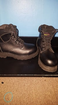 pair of brown leather combat boots Bellflower