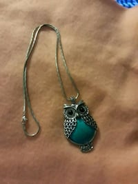Silver and turquoise owl necklace Byron, 31008
