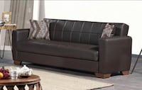 NEW PU LEATHER BROWN SOFABED AND LOVESEAT ADJUSTABLE BED Clifton, 07013