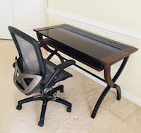 Desk and office chair. Great condition. Sold together for $100 or $50 each. Cash only. Buyer must pick up.  Chantilly, 20152