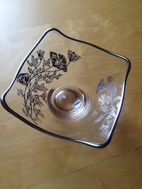 Vintage sterling silver flower overlay square candy dish Washington