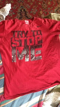 red and black Nike try to stop me text-printed crew-neck t-shirt Millersville, 17551