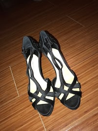pair of black-and-white peep toe ankle strap heels Frisco, 75035