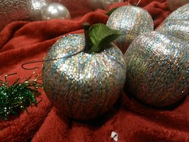 Vintage home decor holiday Christmas tree ornaments. Silvery multi-colored silk threaded apples