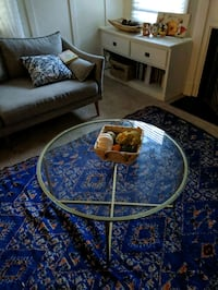 brass + glass round coffee table