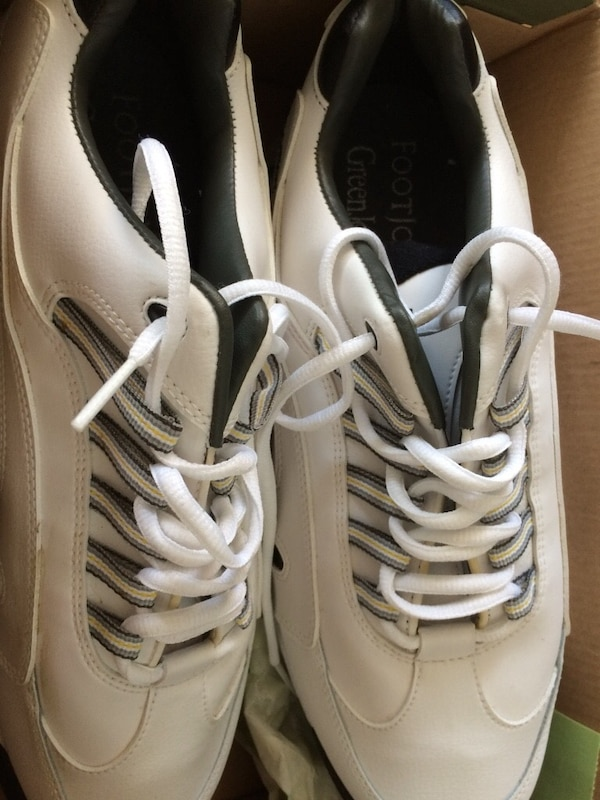 White 10 1/2 footjoy golf shoes, used one round  shortly after purchase developed a condition that ended my golfing days :( but left me with these $120 shoes 053129c7-9d25-4d78-8c50-1dada0f81e29