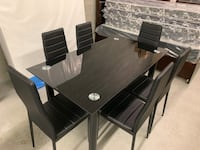 Brand new black 7pc tempered glass dining set warehouse sale  多伦多, M1V 1E9