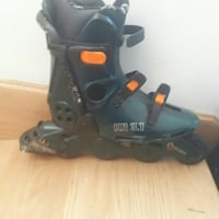 black, and green, inline skate