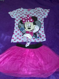 girl's white heart print Minnie Mouse  crew-neck t-shirt with pink chiffon skirt Spring Lake, 28390