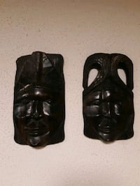 Pair of vintage african tribal mask hanging wall decor