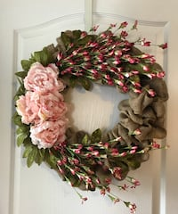 Gorgeous pink floral spring wreath