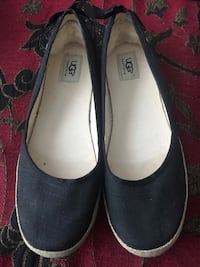 UGG Indah Canvas Slip On Flats in Black with Ribbons Toronto, M9M 0A5