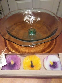Floating Candles in Glass Pedestal Bowl West Springfield
