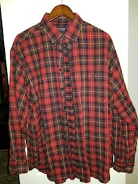 Roundtree & Yorke Men's Red/Blue Plaid Casuals Long Sleeve Shirt Size XL EUC Springfield
